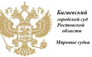 Багаевский городской суд Ростовской области и Мировые судьи
